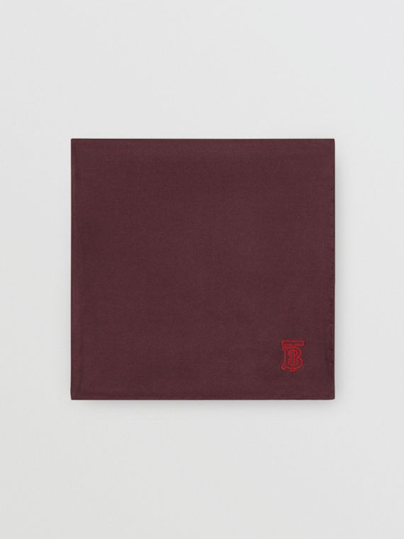 Monogram Motif Silk Pocket Square in Burgundy