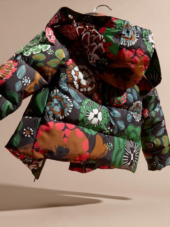 Vert sauge Doudoune longue à imprimé floral avec capuche repliable - cell image 3