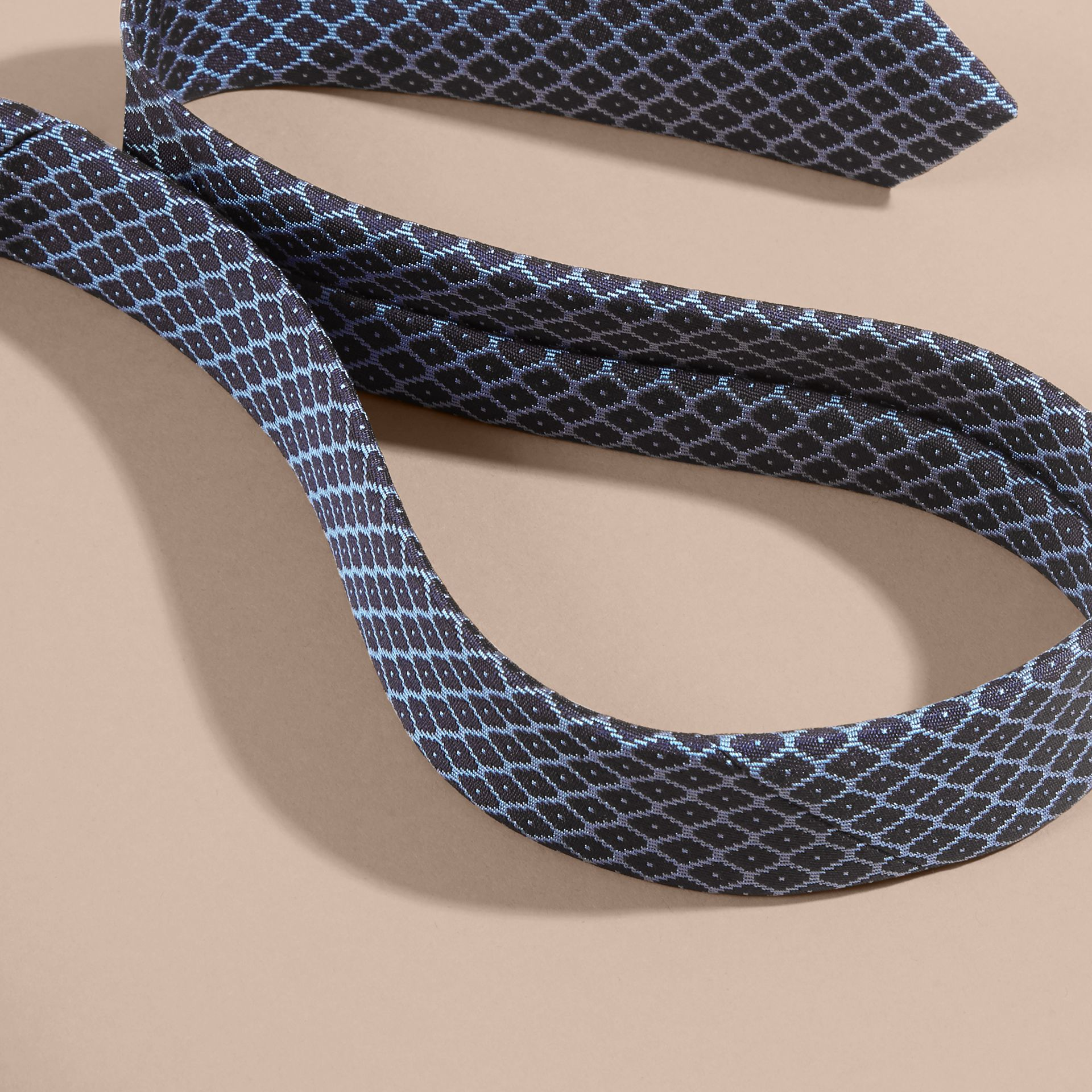 Navy/mineral blue Modern Cut Silk Jacquard Tie Navy/mineral Blue - gallery image 2