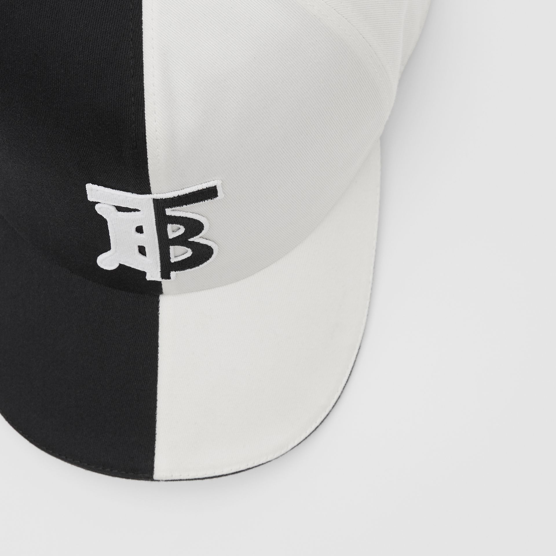 Monogram Motif Two-tone Cotton Baseball Cap in Black/white | Burberry United Kingdom - gallery image 1
