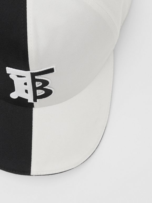 Monogram Motif Two-tone Cotton Baseball Cap in Black/white | Burberry United Kingdom - cell image 1