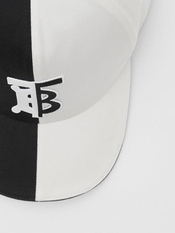 花押字圖案雙色調棉質棒球帽 (黑色/白色) | Burberry - cell image 1