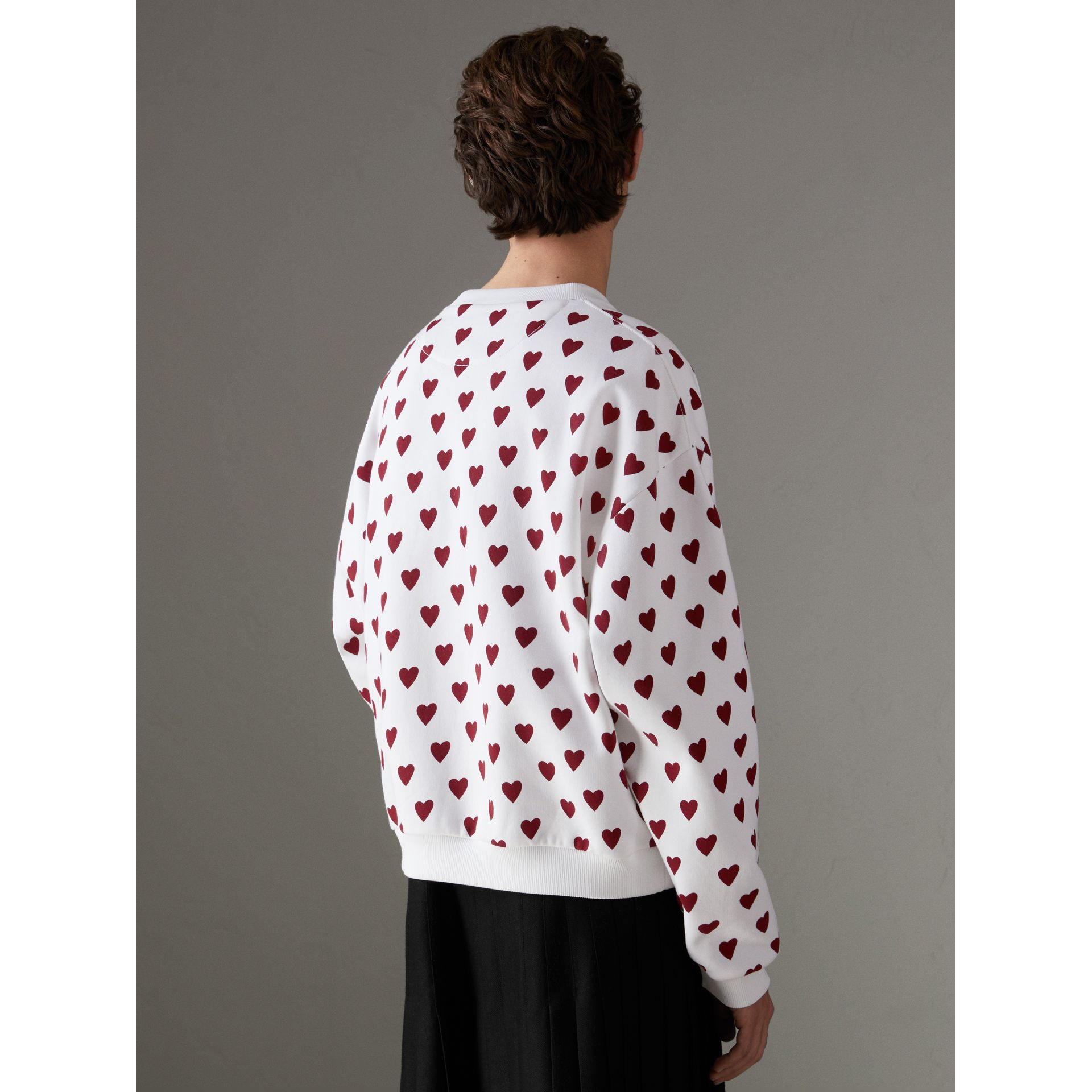 Heart Print Jersey Sweatshirt in Windsor Red | Burberry United States - gallery image 2