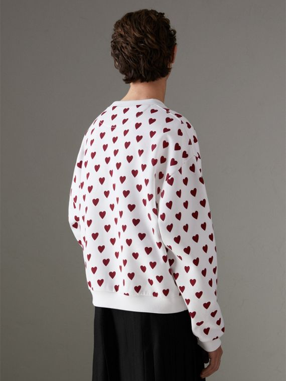 Heart Print Jersey Sweatshirt in Windsor Red | Burberry Canada - cell image 2