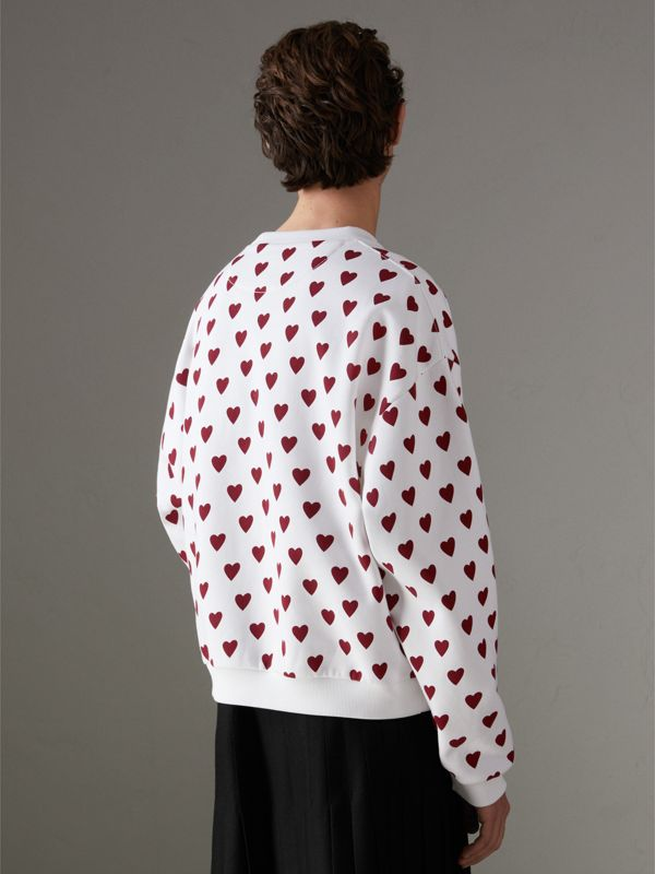 Heart Print Jersey Sweatshirt in Windsor Red | Burberry Hong Kong - cell image 2