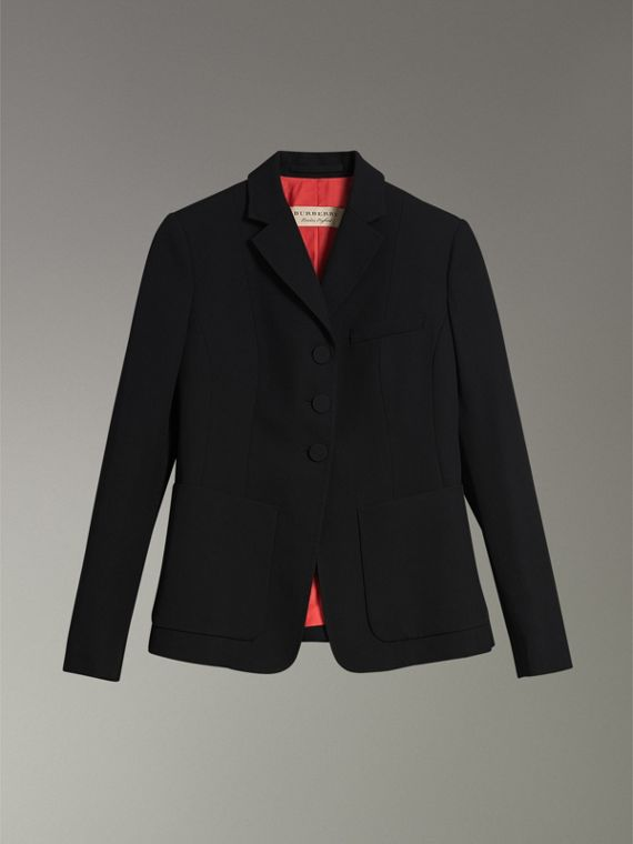 Wool Twill Tailored Jacket in Black - Women | Burberry United States - cell image 3