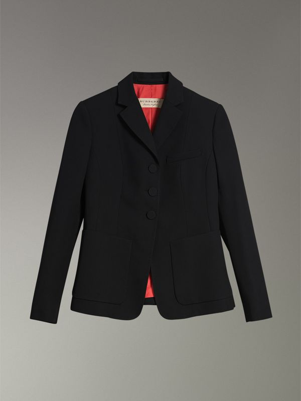 Wool Twill Tailored Jacket in Black - Women | Burberry - cell image 3