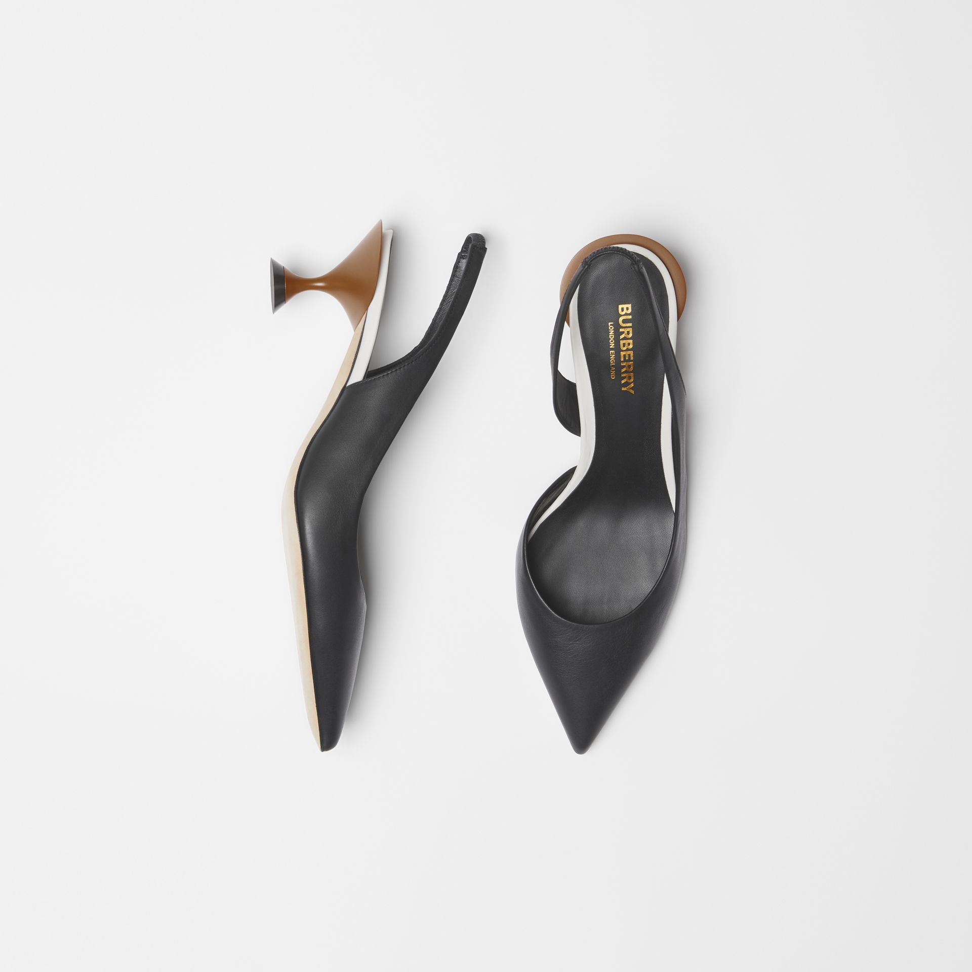 Leather Slingback Pumps in Black - Women | Burberry Hong Kong - gallery image 0