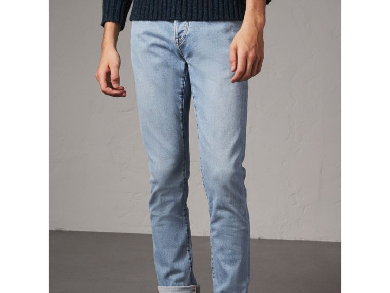 Straight Fit Comfort Stretch Japanese Denim Jeans in Light Indigo - Men | Burberry Australia - cell image 4