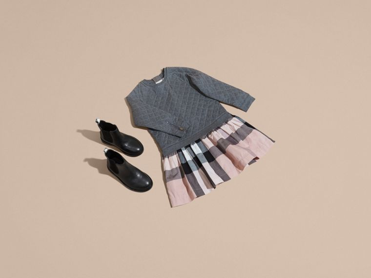 Dark grey melange Quilted Jersey and Check Cotton Day Dress Dark Grey Melange - cell image 4