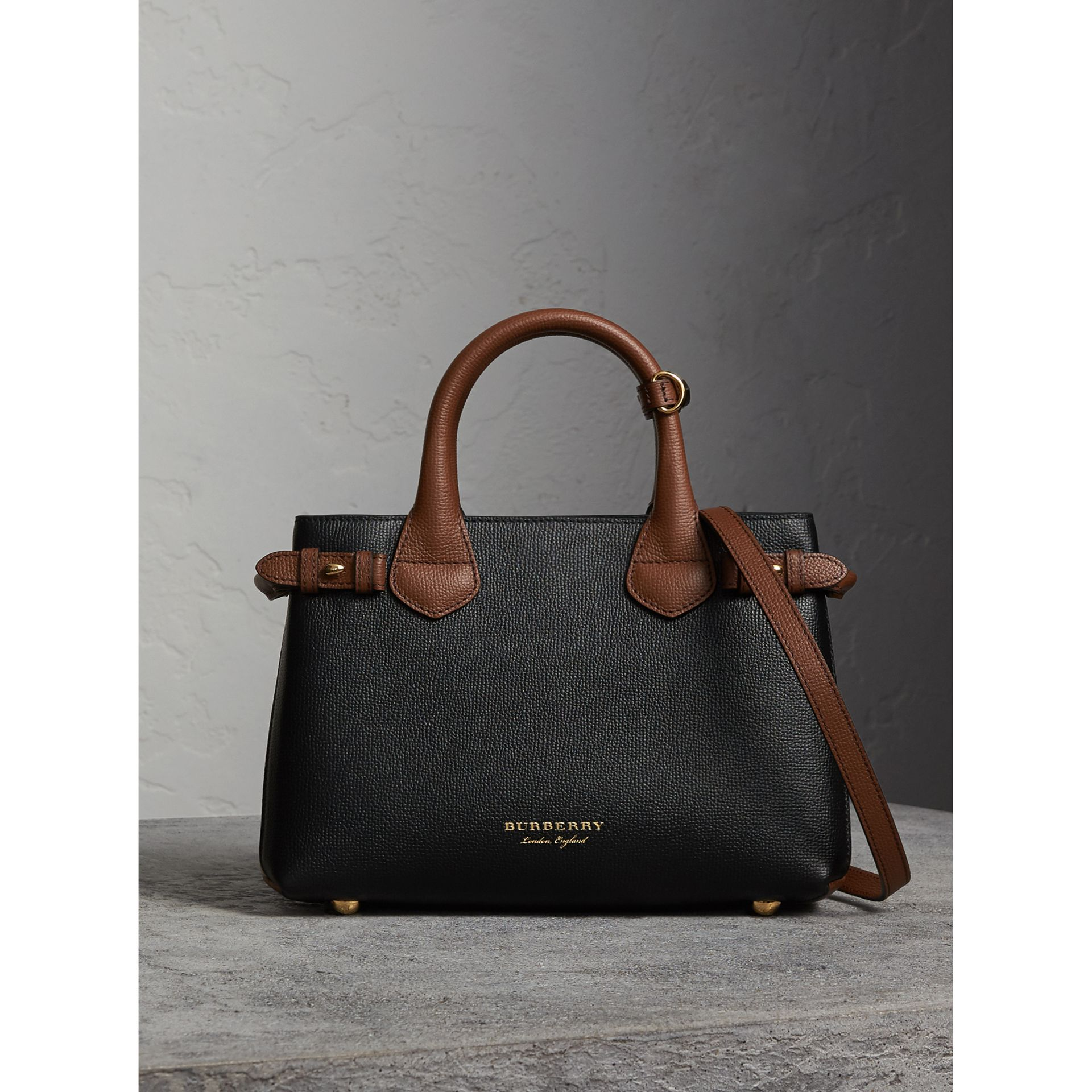 The Small Banner in Leather and House Check in Black/tan - Women | Burberry - gallery image 6