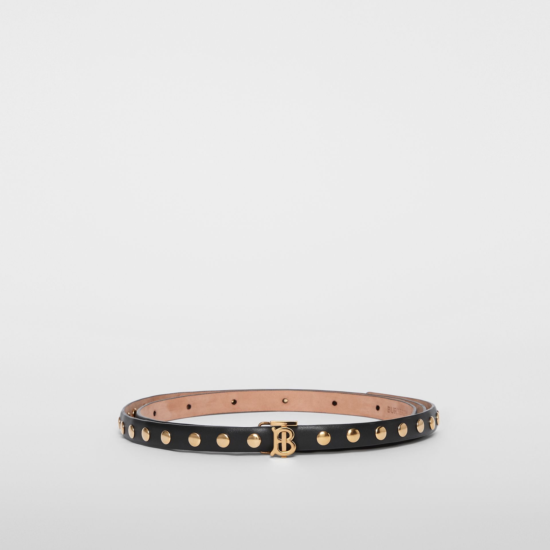 Monogram Motif Studded Leather Belt in Black/light Gold - Women | Burberry Australia - gallery image 3