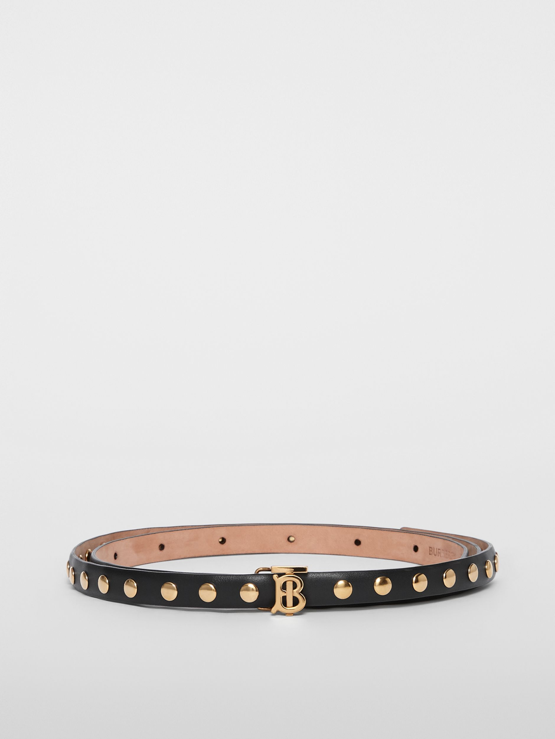 Monogram Motif Studded Leather Belt in Black/light Gold - Women | Burberry - 4