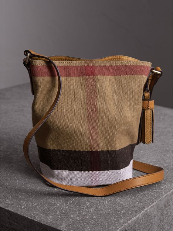 The Small Ashby in Canvas Check and Leather in Saddle Brown - Women | Burberry - cell image 3
