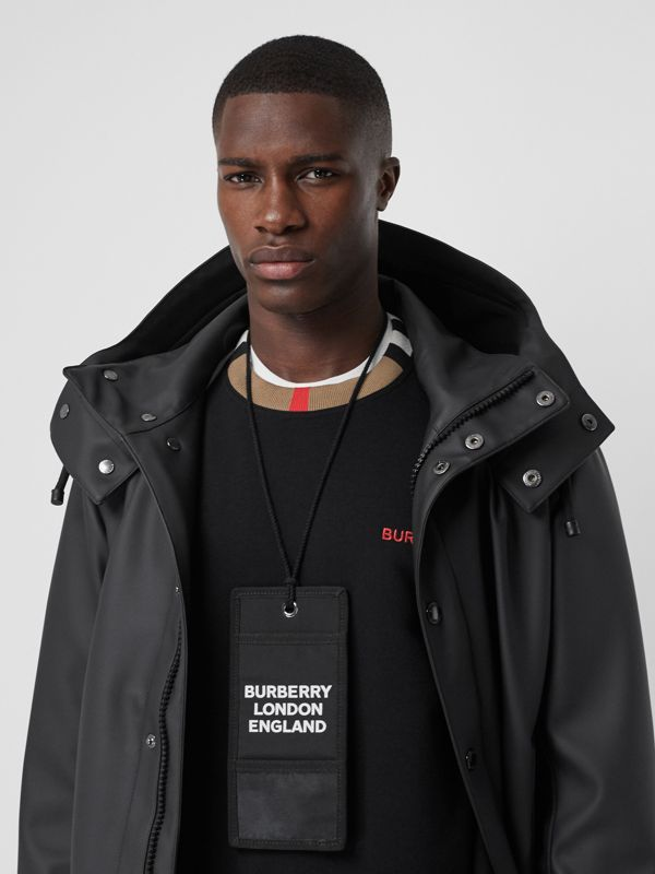 Logo Print Card Case Lanyard in Black | Burberry Canada - cell image 3