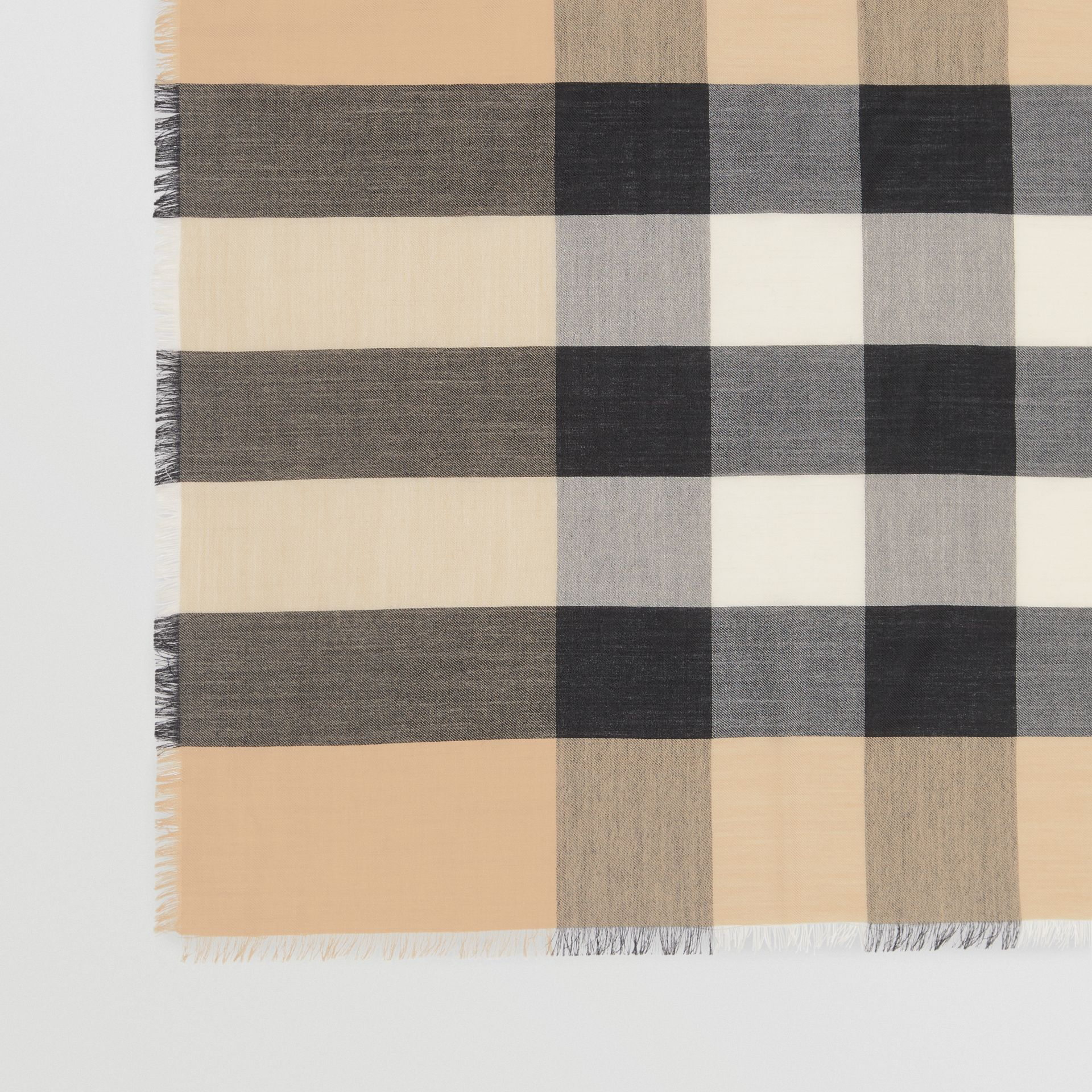 Fringed Check Cashmere Scarf in Camel | Burberry - gallery image 1