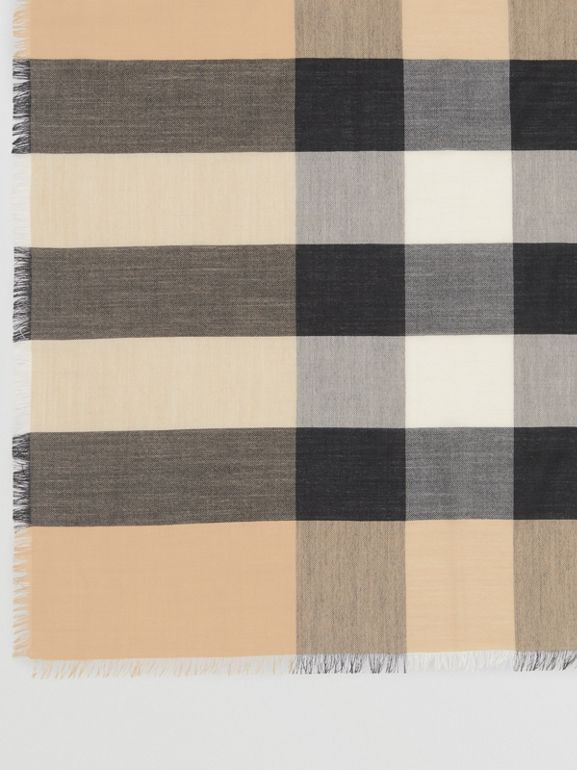 Lightweight Check Cashmere Scarf in Camel | Burberry United States - cell image 1