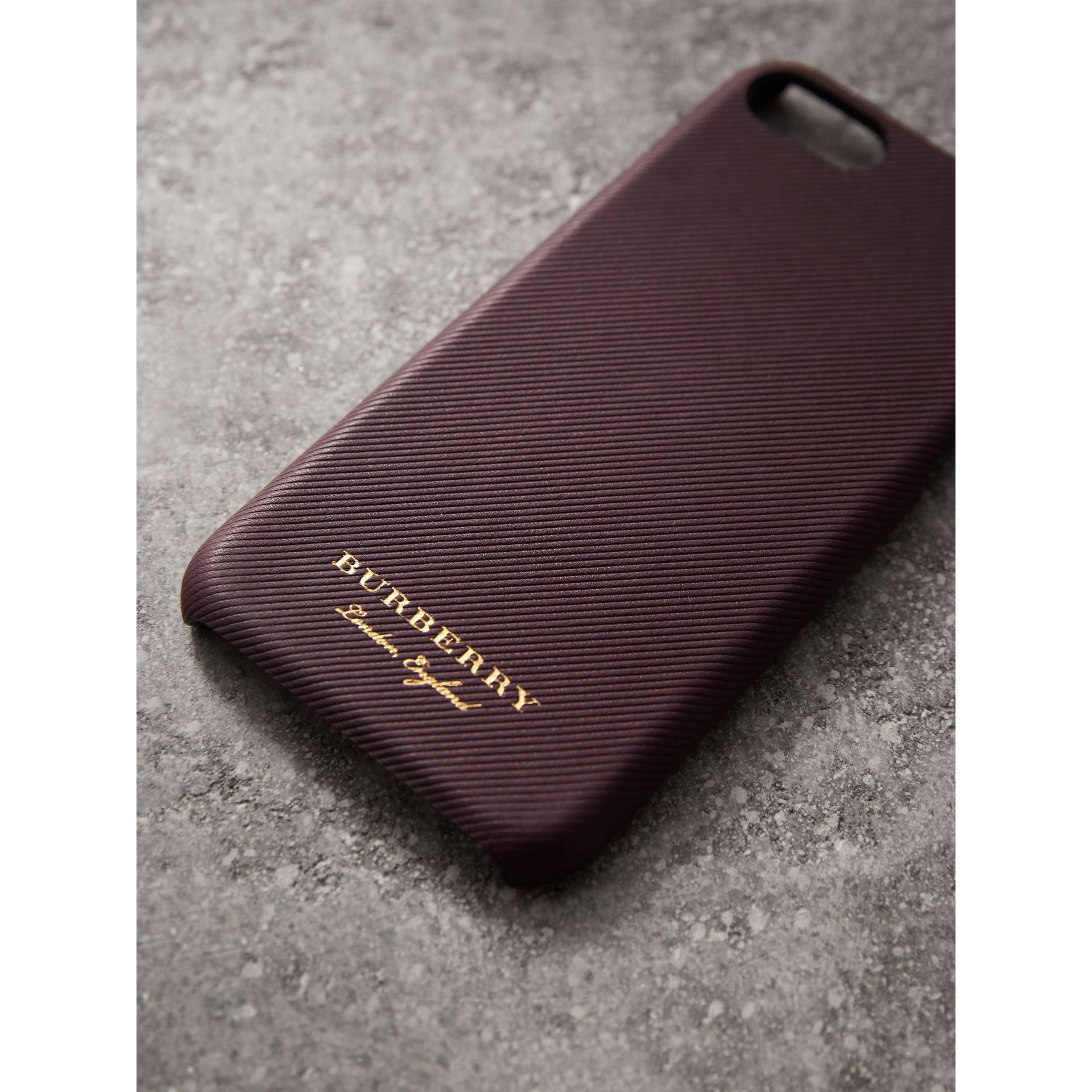 Trench Leather iPhone 7 Case in Wine | Burberry Australia - gallery image 2