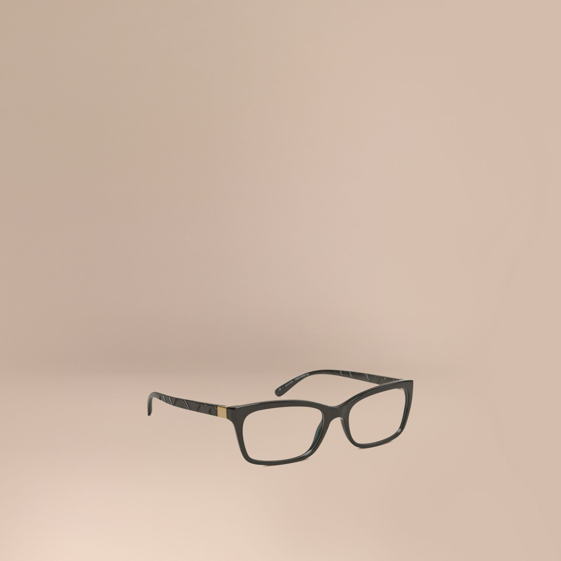Black Check Detail Rectangular Optical Frames Black - gallery image 1