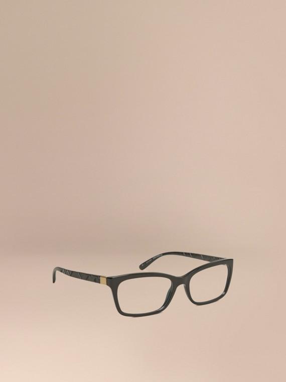 Rechteckige Brille mit Check-Detail Schwarz