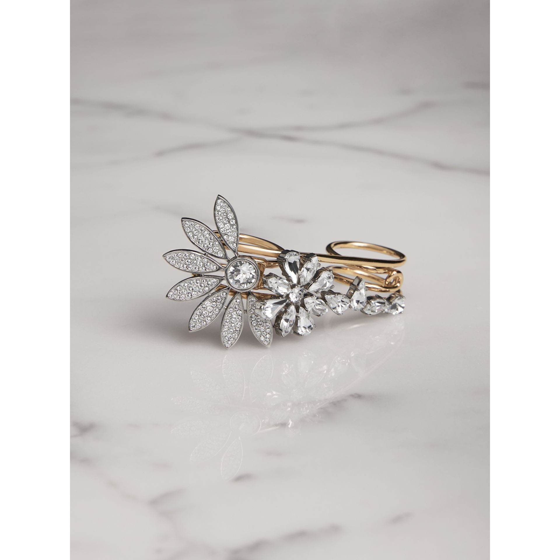 Bague double en laiton avec marguerites en cristal - Femme | Burberry - photo de la galerie 0