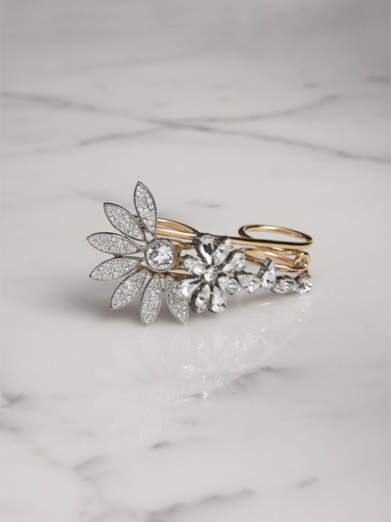 Crystal Daisy Brass Double Ring