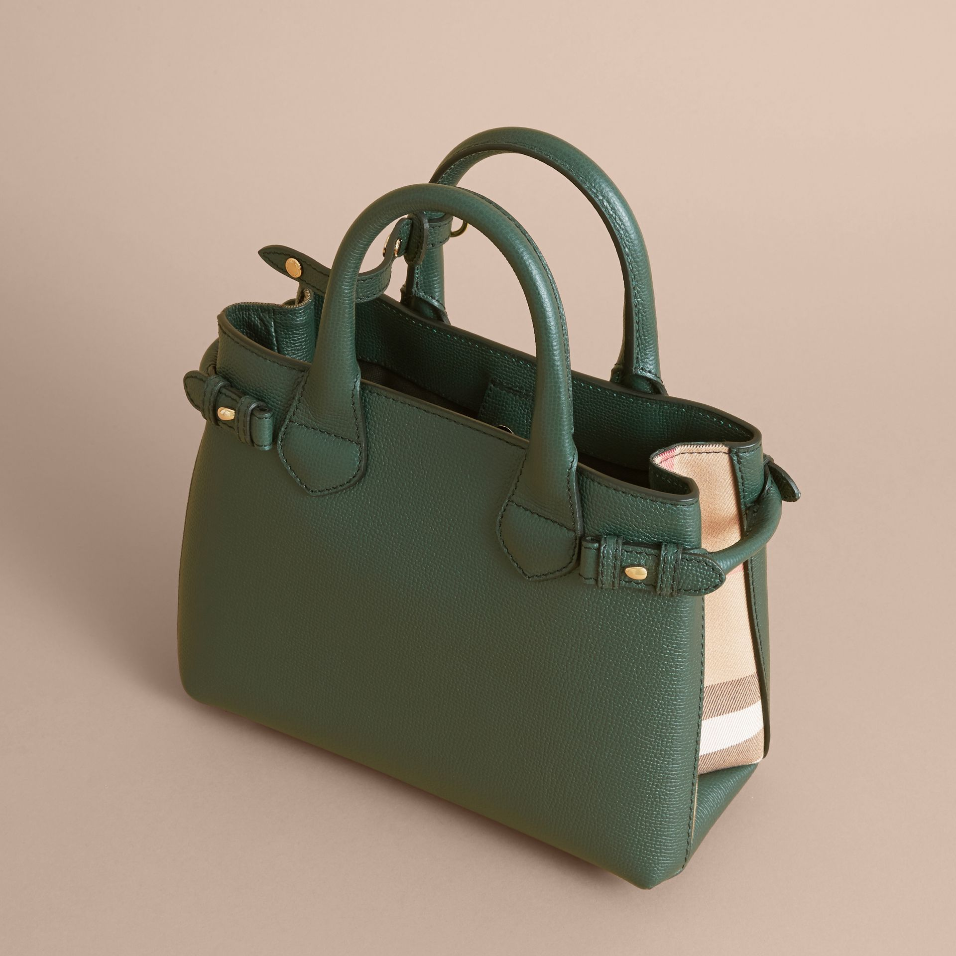 The Small Banner in Leather and House Check in Dark Bottle Green - Women | Burberry - gallery image 4