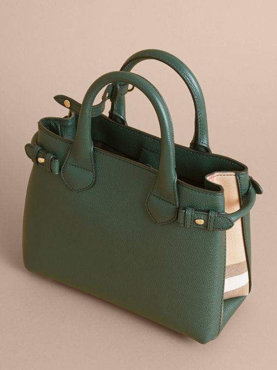 The Small Banner in Leather and House Check in Dark Bottle Green - Women | Burberry - cell image 3