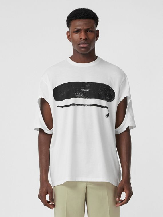 Cut-out Detail Logo Print Cotton Oversized T-shirt in Optic White
