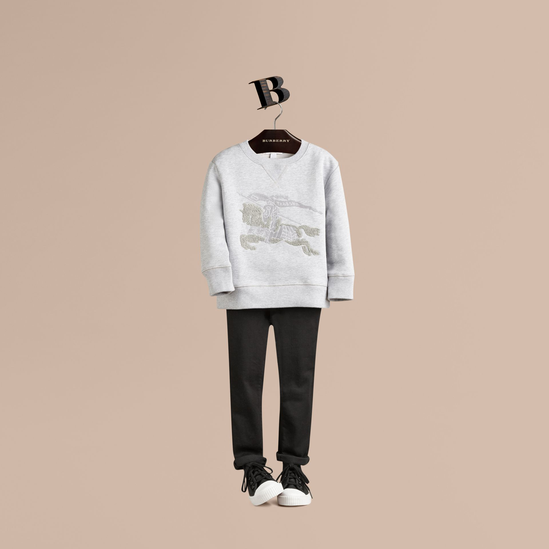 Mid grey melange Equestrian Knight Detail Cotton Sweatshirt Mid Grey Melange - gallery image 1