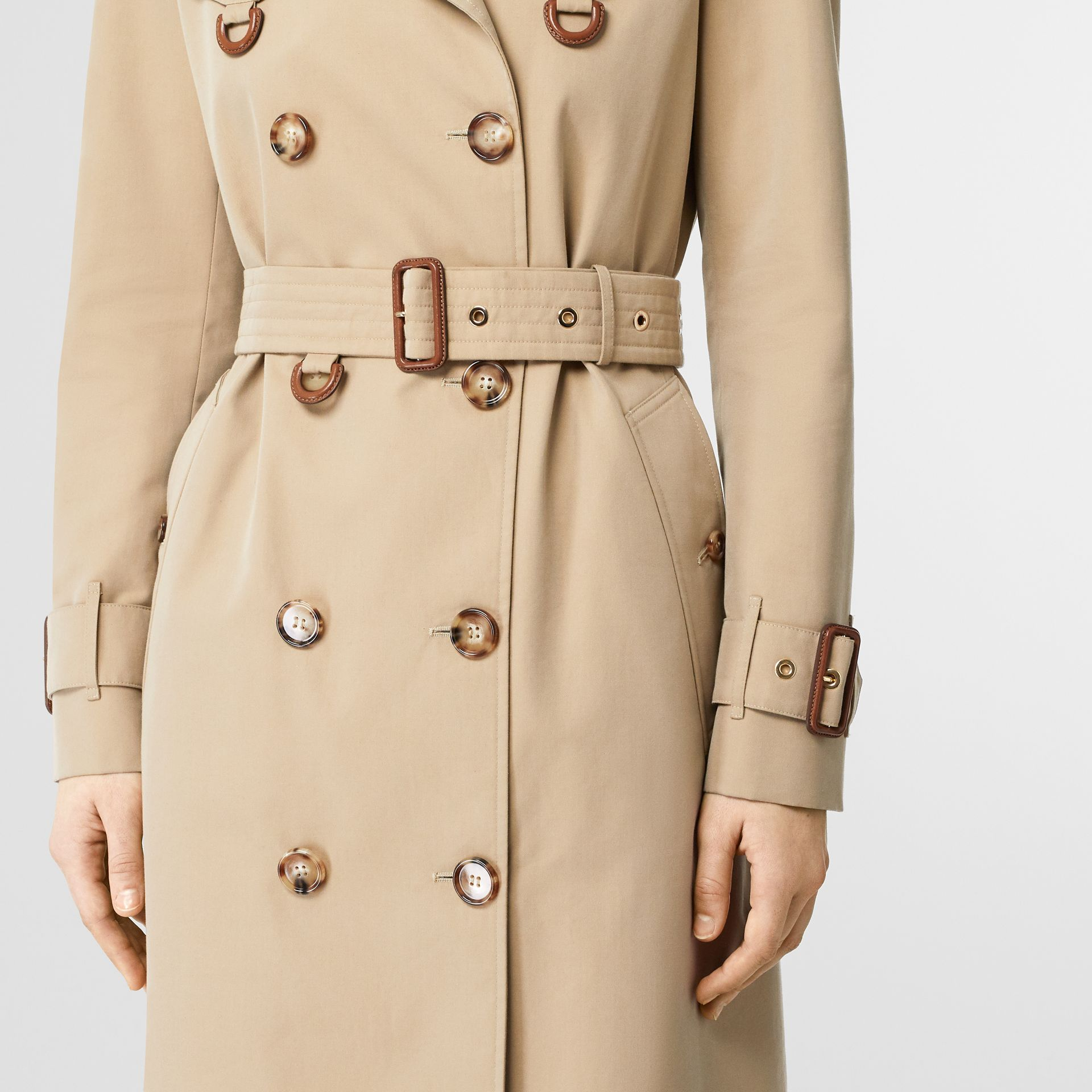 Leather D-ring Detail Cotton Gabardine Trench Coat in Honey - Women | Burberry - gallery image 4