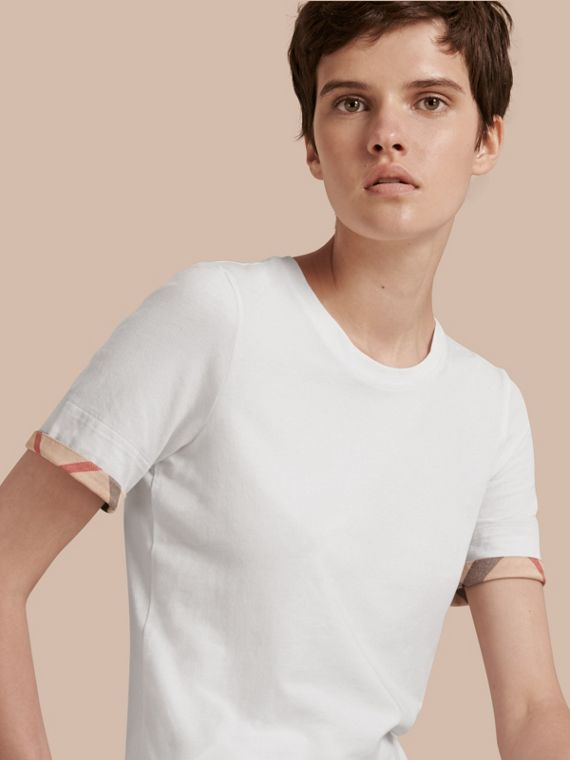 Check Cuff Stretch Cotton T-Shirt in White