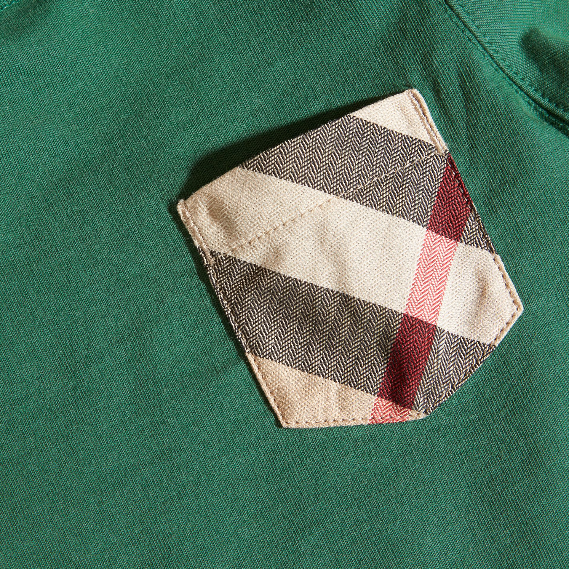 Forest green Check Pocket Long Sleeve T-Shirt Forest Green - gallery image 2
