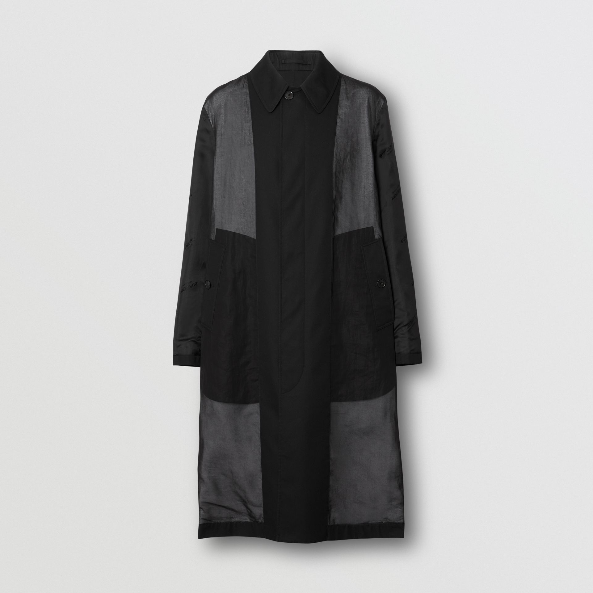 Logo Detail Panelled Cotton Gabardine Car Coat in Black - Men | Burberry - gallery image 3