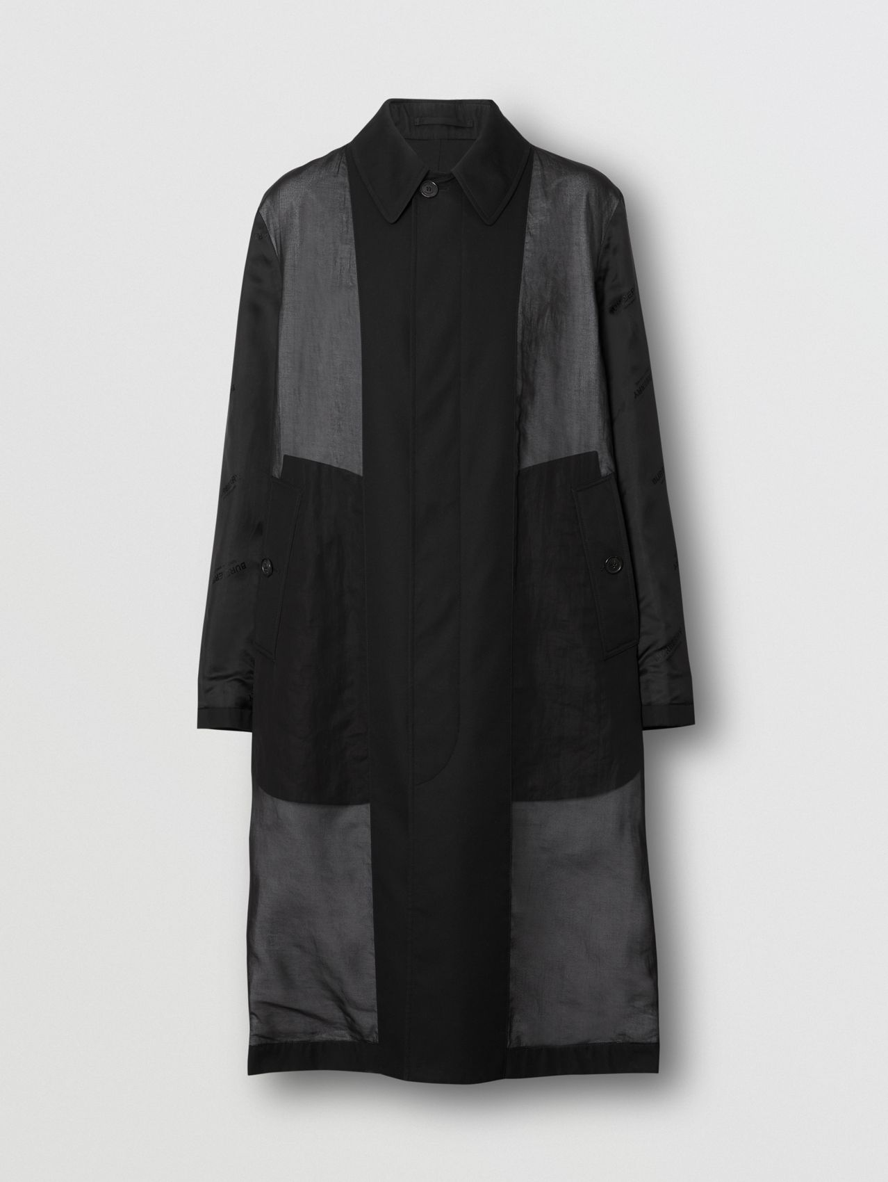 Logo Detail Panelled Cotton Gabardine Car Coat in Black