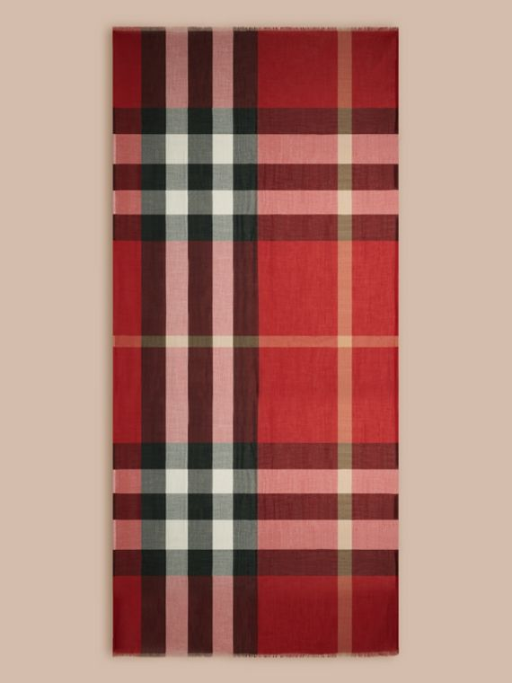 Check Modal Cashmere and Silk Scarf in Parade Red | Burberry - cell image 3