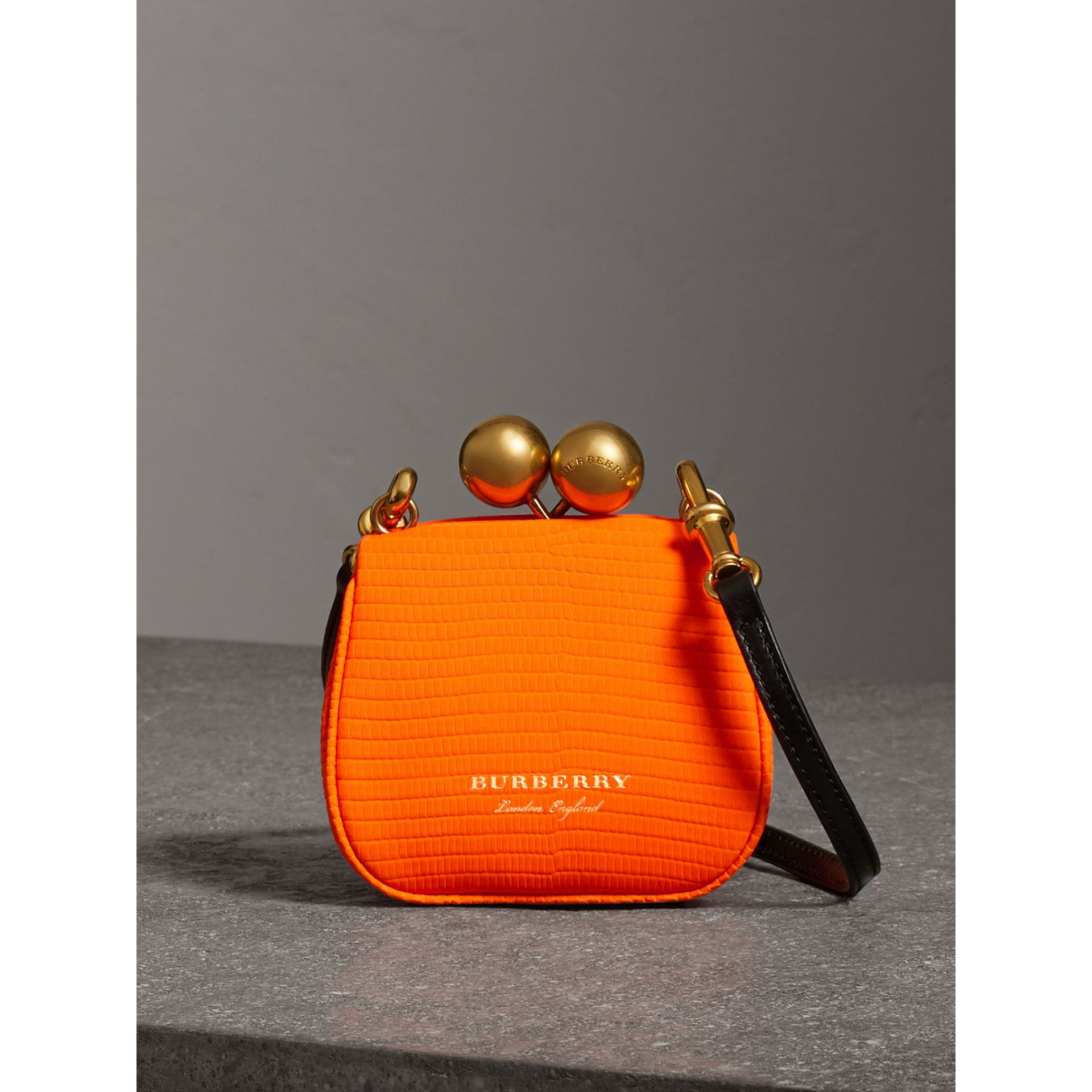 Mini Lizard Frame Bag in Neon Orange - Women | Burberry - gallery image 0