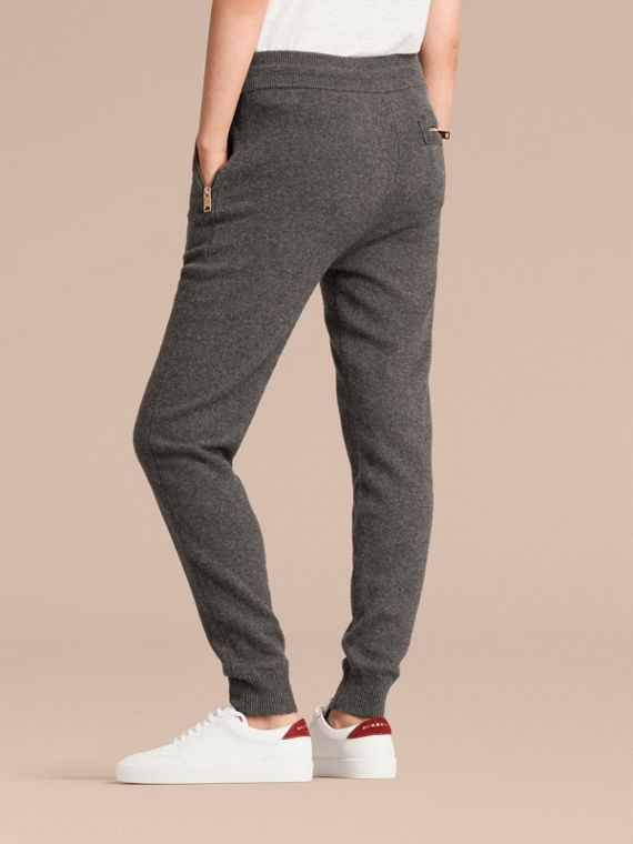 Dark grey melange Knitted Cashmere Cotton Joggers - cell image 3