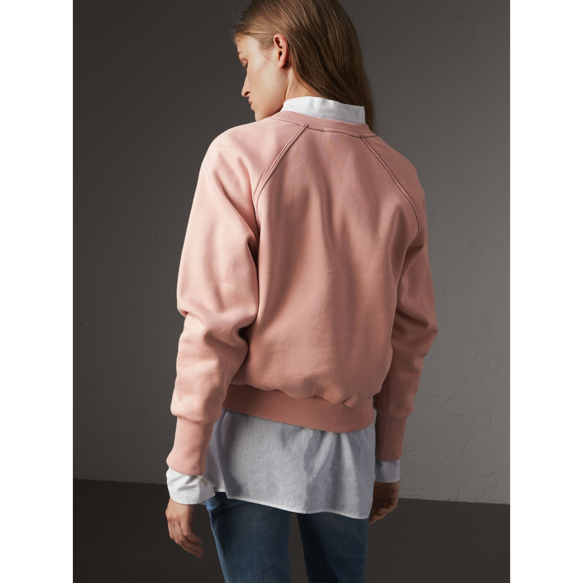 Embroidered Cotton Blend Jersey Sweatshirt in Ash Rose - Women | Burberry United Kingdom - gallery image 3