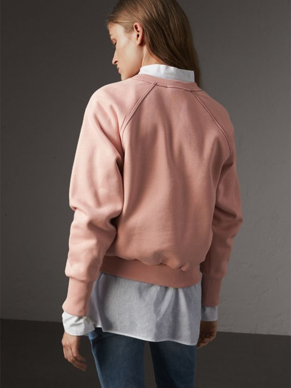 Embroidered Cotton Blend Jersey Sweatshirt in Ash Rose - Women | Burberry United Kingdom - cell image 2