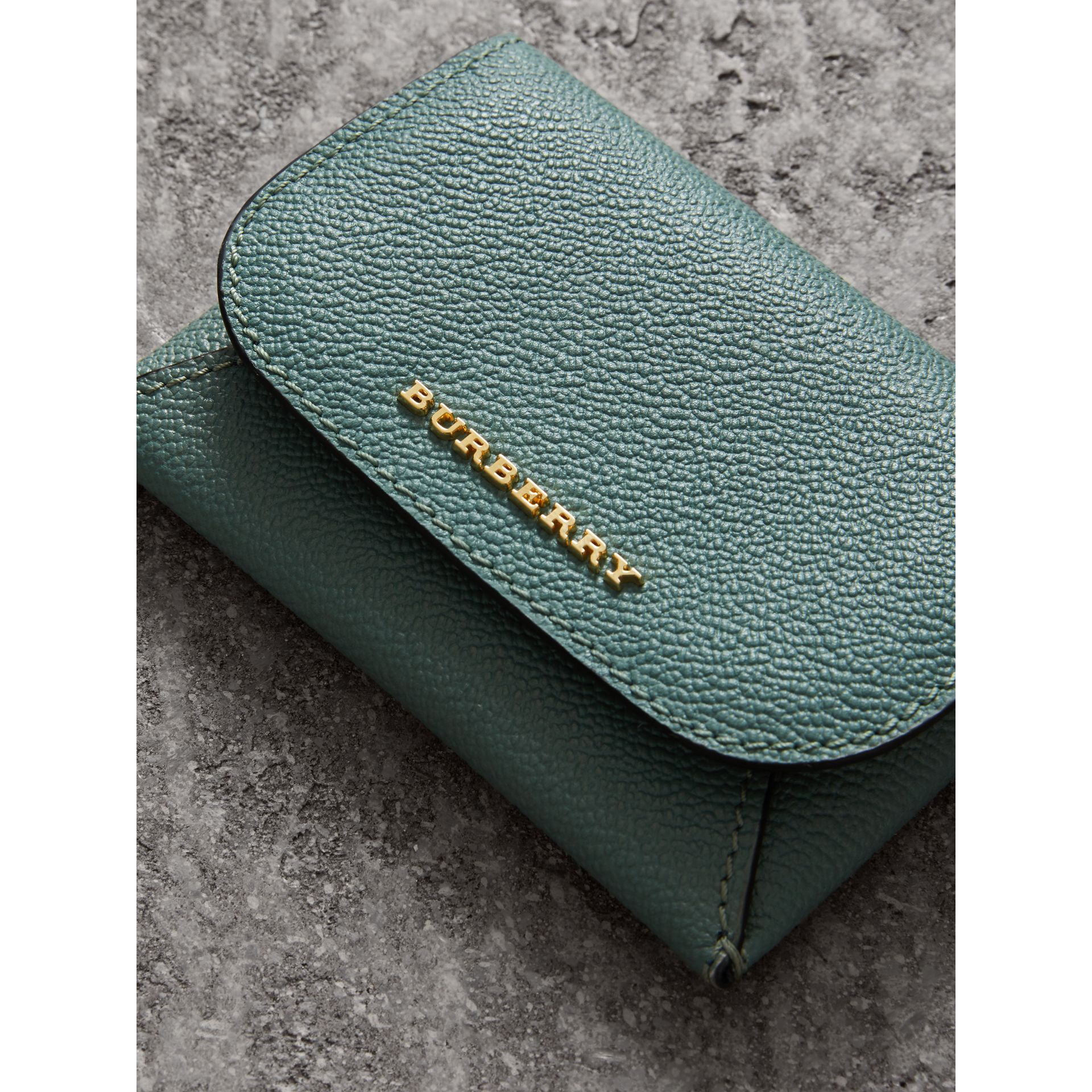 Leather Coin Case with Removable Card Compartment in Eucalyptus Green/multi - Women | Burberry - gallery image 2