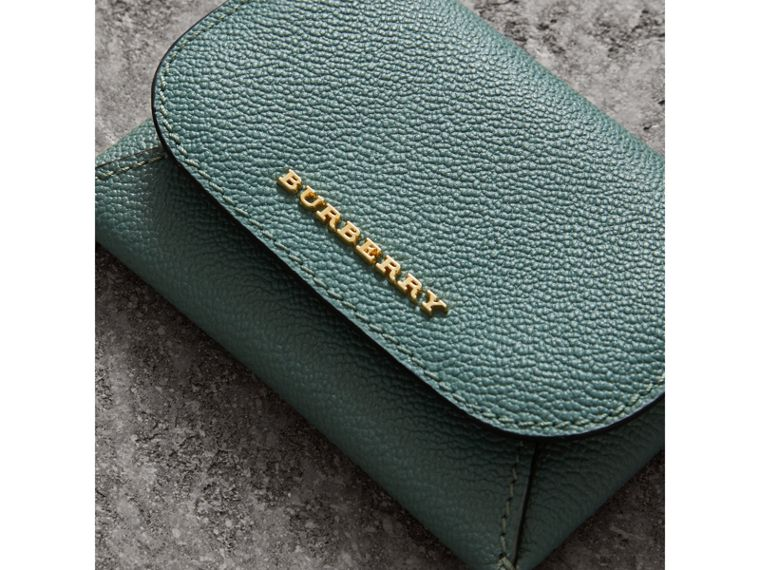 Leather Coin Case with Removable Card Compartment in Eucalyptus Green/multi - Women | Burberry - cell image 1
