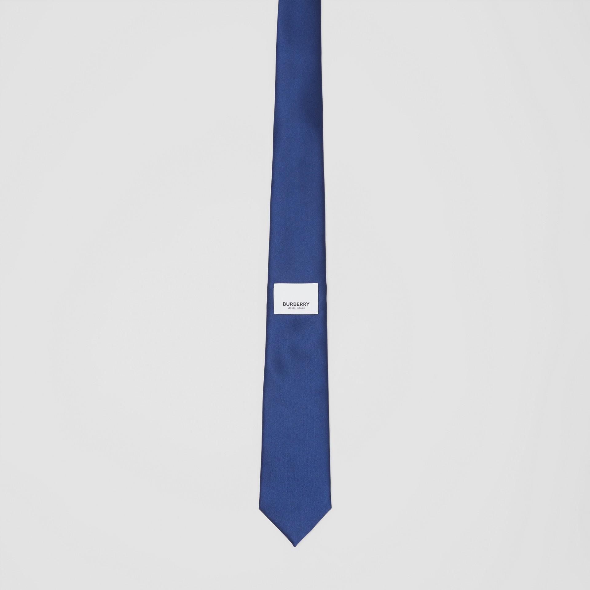 Classic Cut Logo Appliqué Silk Satin Tie in Sapphire Blue - Men | Burberry - gallery image 3