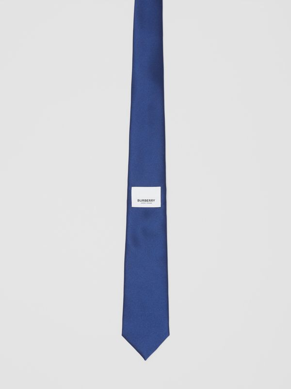 Classic Cut Logo Appliqué Silk Satin Tie in Sapphire Blue - Men | Burberry - cell image 3