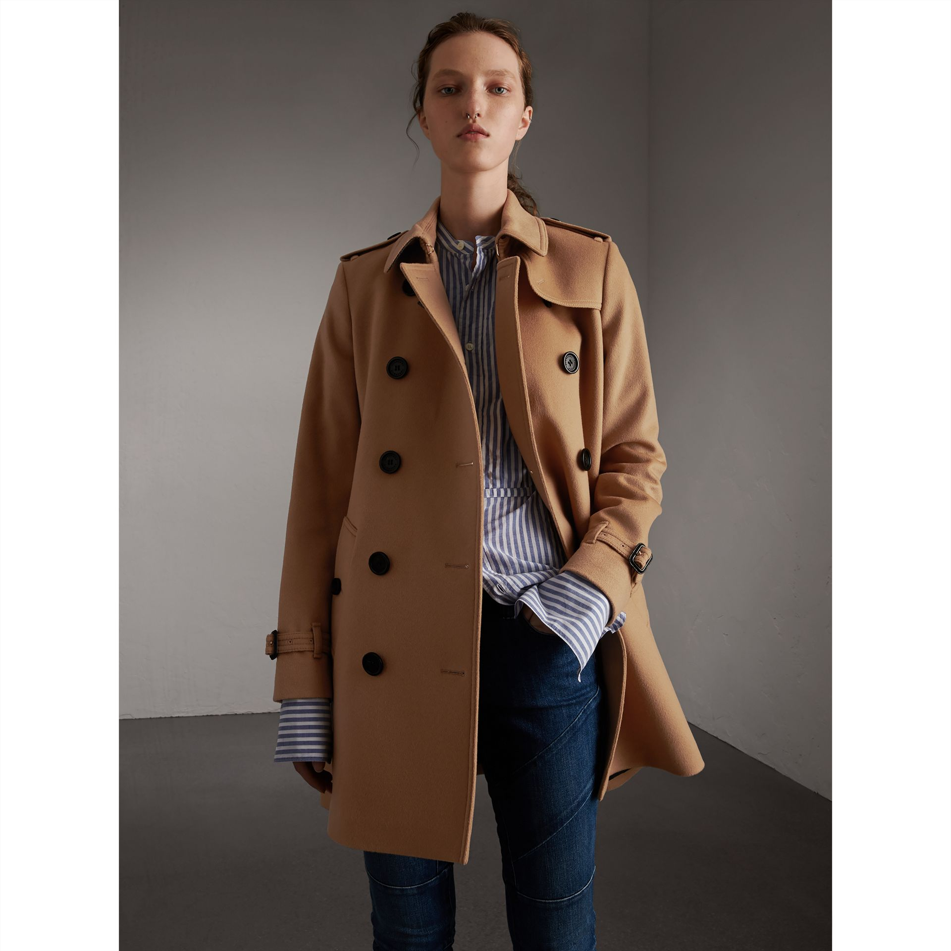 Wool Cashmere Trench Coat in Camel - Women | Burberry - gallery image 5