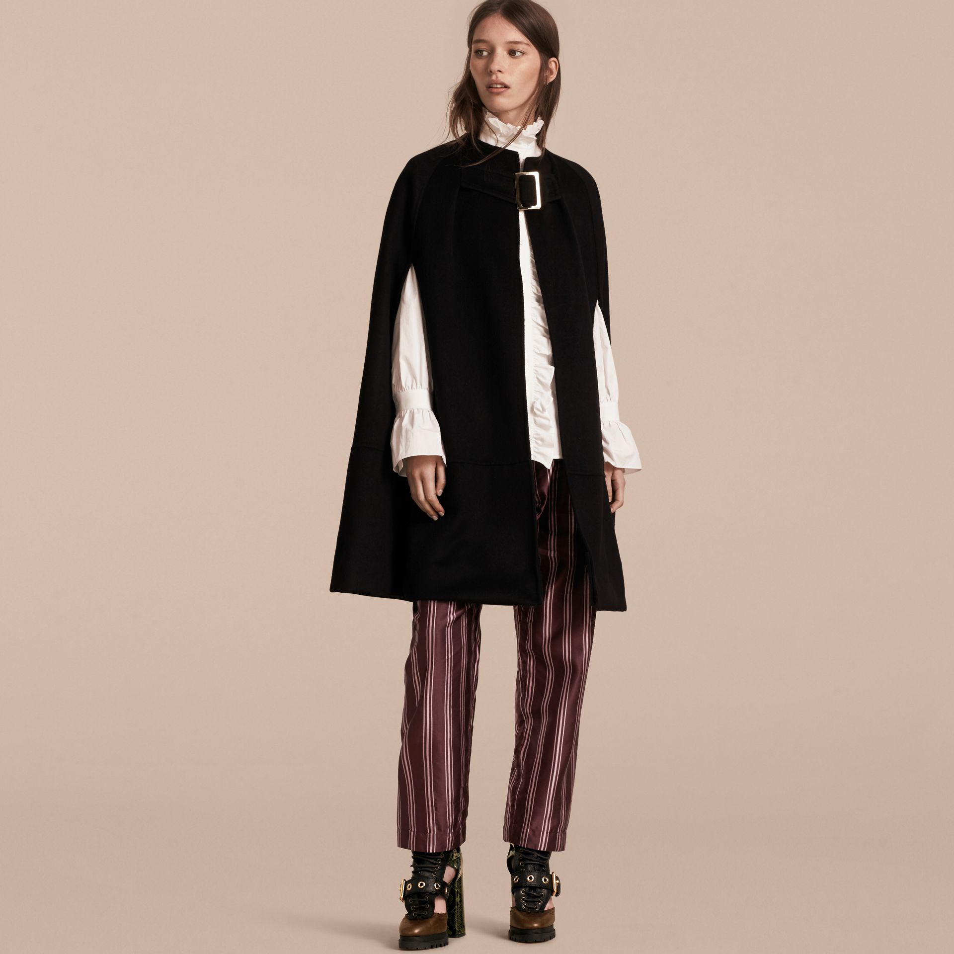 Black Panelled Cashmere Cape with Buckle Detail - gallery image 6