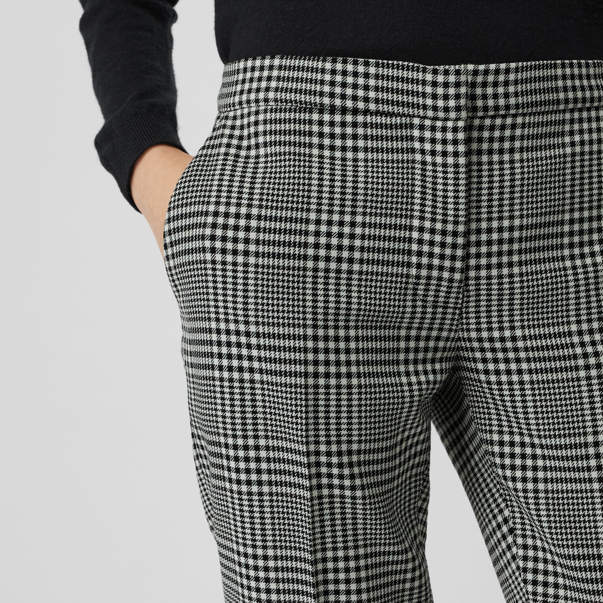 Straight Fit Prince of Wales Check Wool Trousers in Mist Green - Women | Burberry - gallery image 1