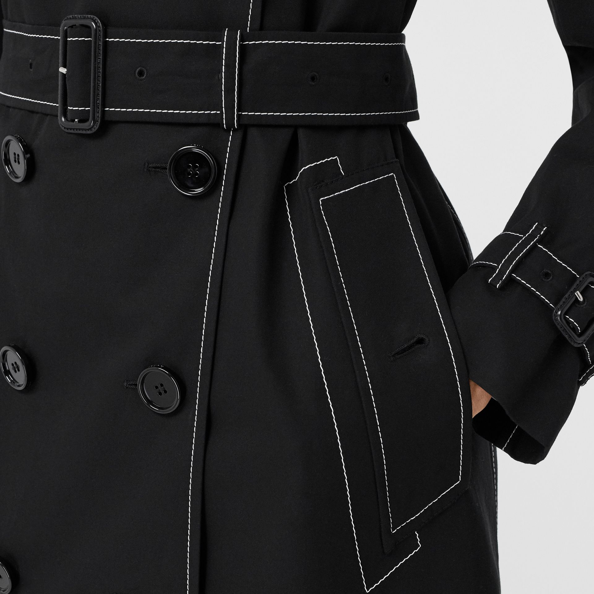 Topstitched Tropical Gabardine Trench Coat in Black - Women | Burberry - gallery image 5