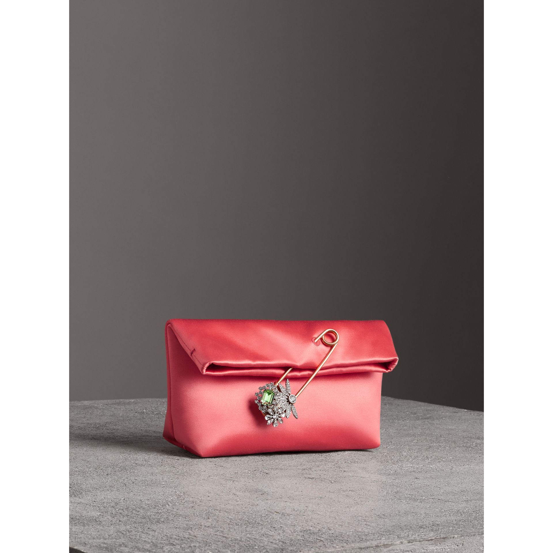 The Small Pin Clutch in Satin in Pale Cinnamon - Women | Burberry - gallery image 6