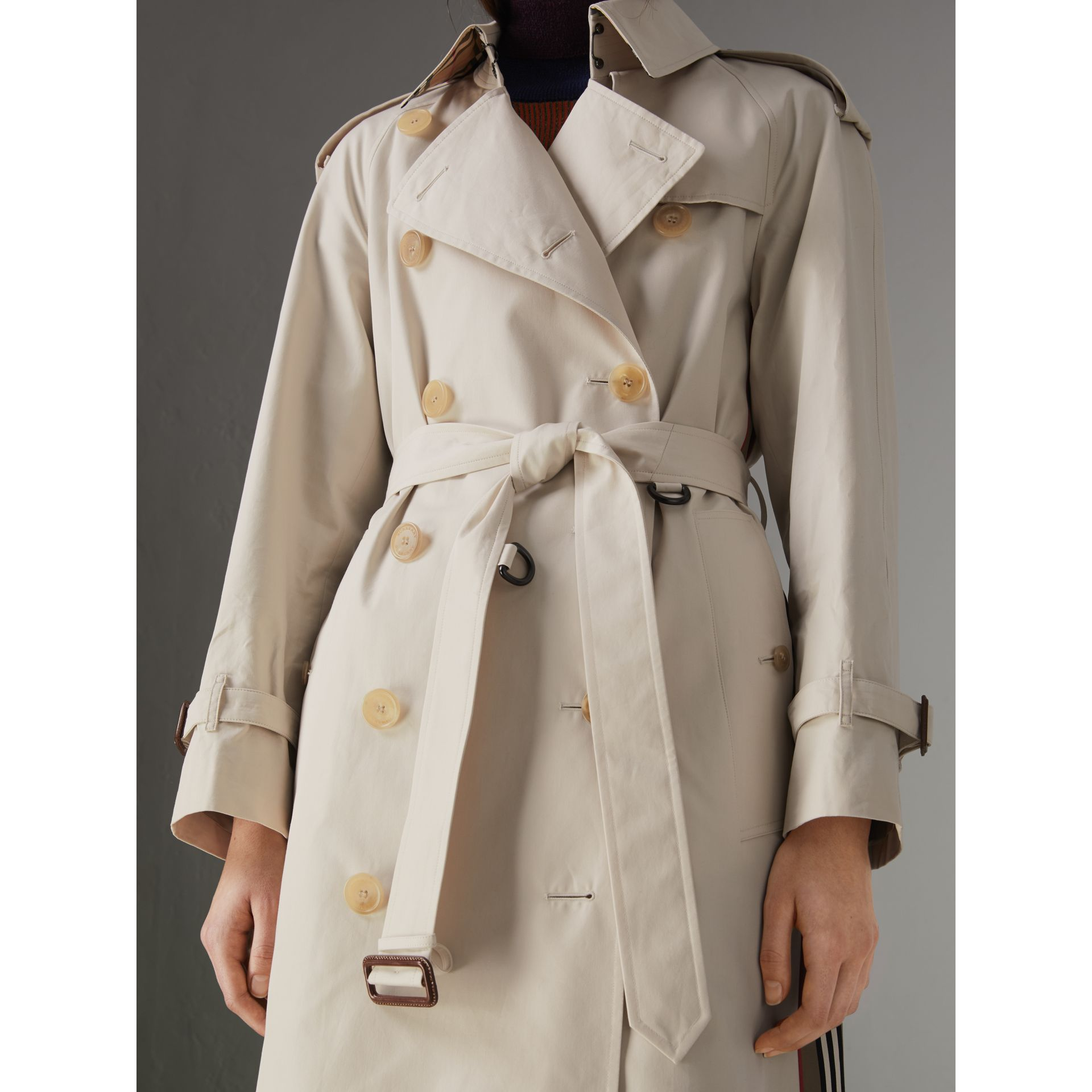 Heritage Stripe Cotton Gabardine Trench Coat in Stone - Women | Burberry - gallery image 1